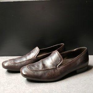 Prada brown slip on loafers